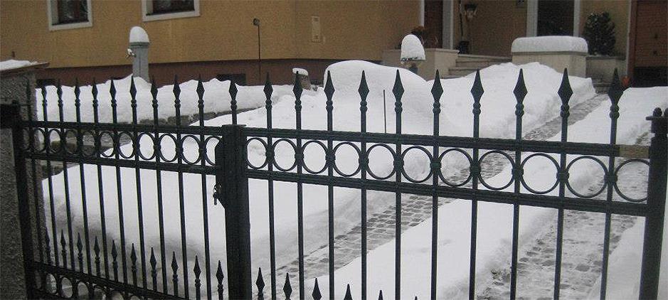 Ein schmiedeeisen staketen zaun mit ring dekor für ihr garten.